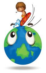 boy surfing on earth globe