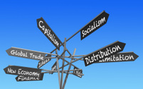 world economy signs post
