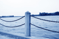closeup of railings by the river