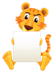 sad tiger sitting holding an empty cardboard