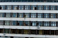 Old School Building and windows in sofia bulgaria