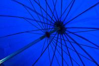 Blue parasol.