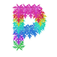 Colourful leaf P alphabet character.