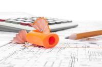 Architectural project, pencils, pencil sharpener  and calculator