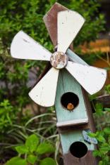 Wooden Windmill Decoration in Garden