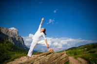 Yoga practicing in the mountains