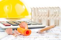 Architectural project, pencils, pencil sharpener, calculator, mo