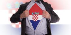 Business man with Croatian flag t-shirt