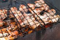 meat fried on fire