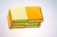 Multiple sticky notes tablets with pencils