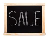 Word sale writtent on blackboard
