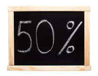 Fifty percent written on blackboard