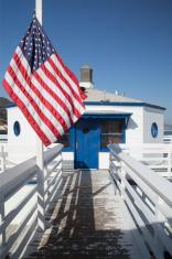 Malibu pier & american flag
