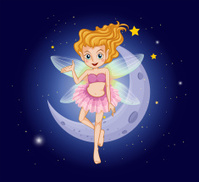 fairy with a pink dress near the moon