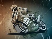 Motorbike Racing Grunge Monochrome