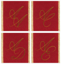 Collection of textile monograms design on a ribbon