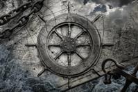 Vintage navigation background illustration with steering wheel,