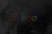 school colored chalk on blackboard