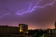 Lightning above city
