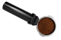 Black stainless steel filter holder, filled ground espresso coff