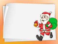 Paper sheets and santa
