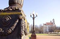 Retro lamps in Vilnius Lukiskes square