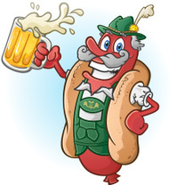 Oktoberfest Hot Dog Cartoon Character Drinking Beer