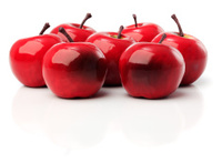 set of seven red plastic apples