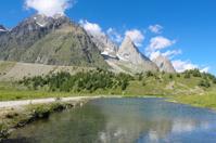 Reflection of an alpine landscape