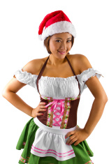 0a882553ef7 Asian Waitress OR Bartender Wearing A Christmas Elf Costume Stock ...
