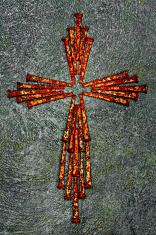 Cross of Old Square Rusty Nails