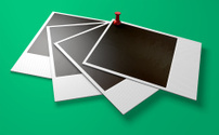 Polaroid And Pushpin Array Perspective