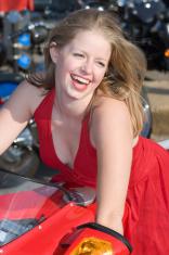 Red-Dressed Biker Woman