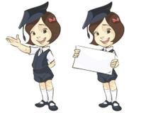 smiling girl in mortar board, holding blank banner