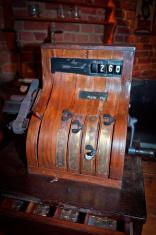 Wooden old-fashioned cash register