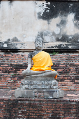 the ancient buddha statue in Ayathaya, Thailand