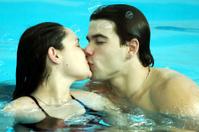 Love in swimming pool water