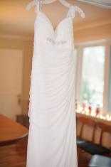 Closeup of Hanging Wedding Dress