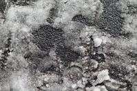 Slush slippery mush wet snow on footpath
