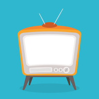 vector vintage tv orange color isolated