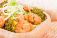 Ginger and Spring Onion Prawns