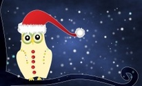 merry christmas with the cute little owl