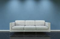 White sofa on blue