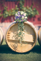 Wedding bouquet on wine barrel