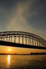 Nijmegen road bridge in sunset