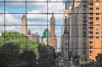 Columbus circle seen through windows of a building