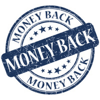 money back blue round stamp