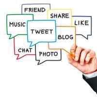 Social media: tweet, blog, share, like, chat in speech bubbles