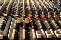 Sound mixer at rock concert