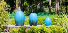 Beautiful blue pottery in garden